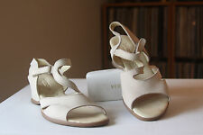 Hirica Nude Beige Nubuck Leather 2 1/4 Inch Wedge Sandals Eur 39 Made In France