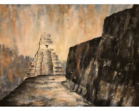 Tikal, Guatemala Incan ruins art.  Ruins of Tikal watercolor painting (print)