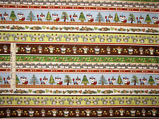 Animal Fabric - Hedgehog Fox squirrel Owl Stripe HG&Co Holiday Hedgehugs - YARD