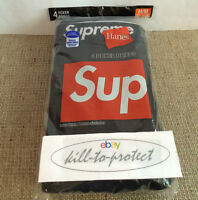 SUPREME/Hanes Boxer Briefs BOX LOGO Sz S M L XL  White/Black (4 Pack) TEE  2016