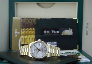 ROLEX 36mm 18kt Gold DAY DATE President Silver Index Fat Clasp 118208 SANT BLANC