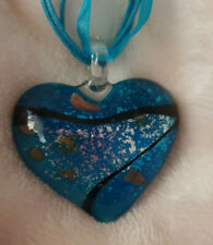 BLUE GLASS HEART NECKLACE,  CHRISTMAS VALATINE BIRTHDAY