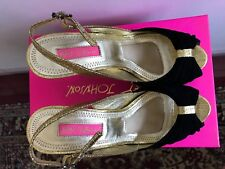 Brand New Betsey Johnson Women Black Suede Gold color Wedge Heels ~ size 6.5M