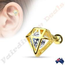 316L Surgical Steel 14Kt Gold Ion Plated Tragus/Cartilage Stud with Incased CZ