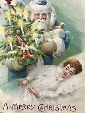 Vintage Christmas Blue Santa Postcard Tree With Candles Lit Sleeping Girl Damage