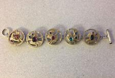 Vintage modern link bracelet sterling silver  semi precious stones designer sgn