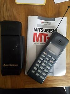 Vintage Mitsubishi Mobile Phone Cellular Telephone MT-5 MT5 Manual Leather Case