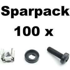 100 Sets Rackschrauben M6x20 + Unterlegscheibe Rand + Käfigmutter f. Alu-Schiene