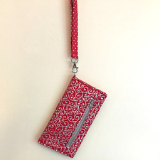 Red Cell Phone Wallet, Wristlet, Clutch, Red and Silver Wallet, Detachable Strap