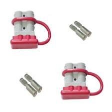 2 x 50 Amp Anderson Plug Grey+ 4 x Poles + Red Dust Cap x 2 Dual battery 50a