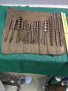 Carpenter woodworker chairmaker builder vintage wood auger drill bit set tool