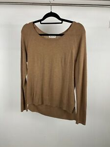 Whistles Brown Silk and Wool Blend Light Weight Knit Long Sleeve Top UK S