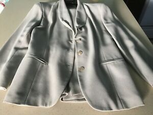Women's beige Tahari rayon blend pant suit with shawl collar size 10/12