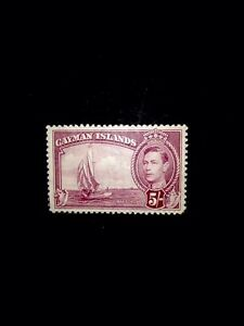 cayman islands SG 125 5/- Carm-lake M/m 1938.
