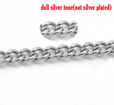 2mtr LENGTH QUALITY 2x3mm STAINLESS STEEL FINE CURB CHAIN~Necklace (ch1) UK