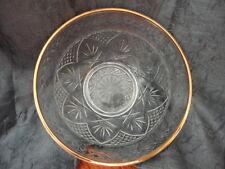 """Cristal d'Argues Durand Antique Clear Gold Rim Clear Glass Bowl 5 5/8""""w"""