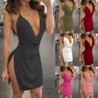 Sexy Dress Halter Plunging Deep V-Neck Backless Solid Color Elastic Side Slit