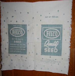 "Vintage Felco Feeds Cloth Seed Sack bag printed 2 sides 29 X 29"" Fort Dodge Iowa"