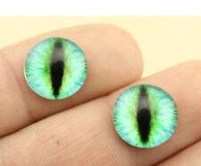 GREEN/BLUE CATS EYE CABOCHON GLASS STUD EARRINGS 12MM