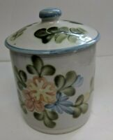 LOUISVILLE STONEWARE Country Flower Blue Large CANISTER Crock with LID