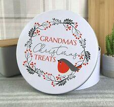 Personalised CHRISTMAS cake treats tin gift, round metal storage tin, robin ESM4