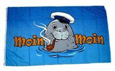 Flagge / Fahne Seehund Moin Moin Pfeife Hissflagge 90 x 150 cm