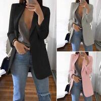 Mode Femme Blazer Loisir Manche Longue Poches Couleur Unie Longue Manteau Plus