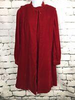 1960's Red Velvet Cocktail Dress Vintage Mod Long Sleeve With Cape Modern Sz 12