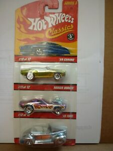 hot wheels classics 3 pack with 69 camaro 40 ford coupe & rodger dodger