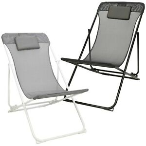 Outdoor Garden Beach Camping Metal Frame Folding Sun Lounger Deck Chair Recliner