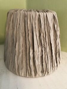 """White metal covered with beige pleated fabric 6"""" lamp shade"""