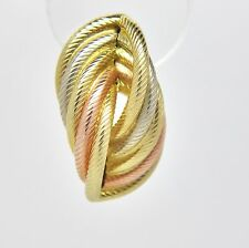 9ct 3 Colour Gold Multi Twist Stud Earrings - 26mm