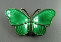 Sterling Silver IVAR T HOLT HOLTH NORWAY Butterfly Brooch GREEN GUILLOCHE ENAMEL