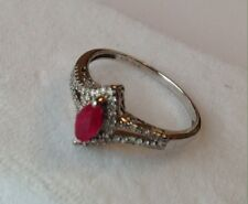 10K WHITE GOLD RUBY AND DIAMOND RING SIZE 7.75