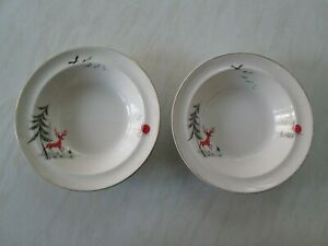Alfred Meakin soup or dessert bowls in the Enchanted Forest / stag design x 2