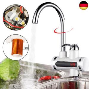 LED Elektrisch Durchlauferhitzer Wasserhahn Sofort Warm Armatur Bad/Küche 3000W