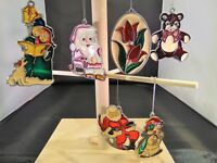 Set of 6 Vintage Stained Glass Christmas Tree Ornaments Carolers Santa Frosty