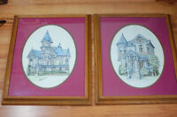 Vintage Pair Debbie Patrick Signed Lithograph Victorian Houses California Framed