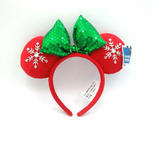 2021 Disney Park Snowflake Sequins Green Bow Mickey Minnie Mouse Ears Red