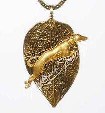 Bronze Leaf Pendant wVintage Gp Leaping Greyhound / Whippet Dog, Bronze Necklace