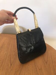 Wonderful 1930s 1940s Crocodile Leather Handbag Bag