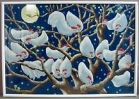ROOSTING CHICKENS & FULL MOON__Lrg Gouache Painting__Chinese__ExC__SHIPS FREE