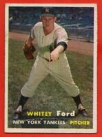 1957 Topps #25 Whitey Ford GOOD+ CREASE HOF New York Yankees FREE SHIPPING