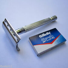 Double Edge DE Safety Razor +5 Gillette Blades - Mens Shave Shaver