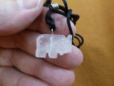 (an-ele-25) Elephant Rose Quartz simple carving Pendant necklace gemstone Fetish