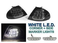 99-01 BMW E46 4D/5D White LED Black Corner Lights + LED Clear Side Marker Lights