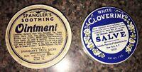 Vintage White Cloverine Salve & Spangler's Soothing Ointment Medicine Tins