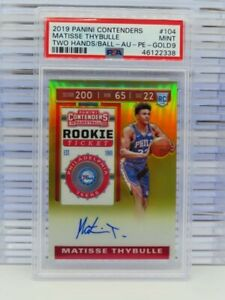 2019-20 Contenders Matisse Thybulle Gold Prizm Rookie Ticket Auto #/10 PSA 9 V79