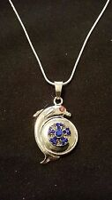 Silver Dolphin Snap Pendant, Dark Blue Stone MiniSnap, & 16 inch .925 Sterling