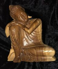 WOODEN CARVED BUDDHA SUAR THAI MEDITATION KNEE PEACEFUL TRANQUIL ORNAMENT STATUE